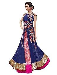 Justkartit Women's Blue & Pink Color Zari Embroidery + Printed Lehenga Style Bottom Long floor Length Dress Material / Wedding & Engagement & Ceremony Wear Dress (Latest 2016 Fashion)