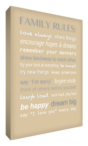 Feel Good Art Canvas Box Thick Family Rules (A1, colore: beige