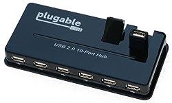 Plugable USB 2.0 10 Port Hub (with Power Adapter)
