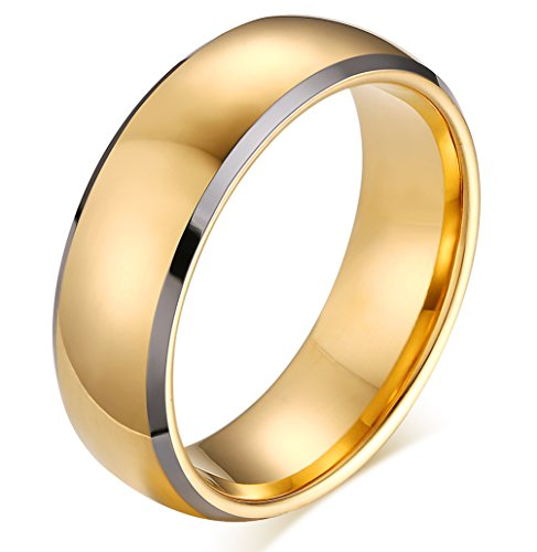 [Men's Classic High Polished Two Tone Tungsten Carbide 8mm Dome Wedding Engagement Band Ring Comfort] (Horse Costume Class)