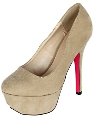 Qupid PSYCHE-01 Extreme Platform High Heel Stiletto Basic Classic Pump, Taupe Suede PU, 7