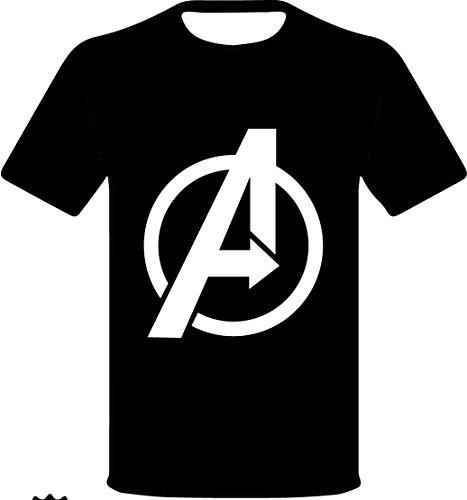 "Monkey Design - T-shirt con logo ""AVENGERS"" SUPER EROI MARVEL nera, taglia: M, per donna"