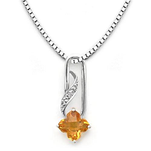 18k White Gold Clover Shaped Citrine and Diamond Pendant