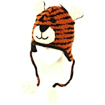 Winter Himalayas Handmade Knit Trooper Lined Hat Tiger