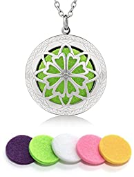 Essential Oil Diffuser Necklace | Locket Pendant with 10 Washable Pads (Silver)