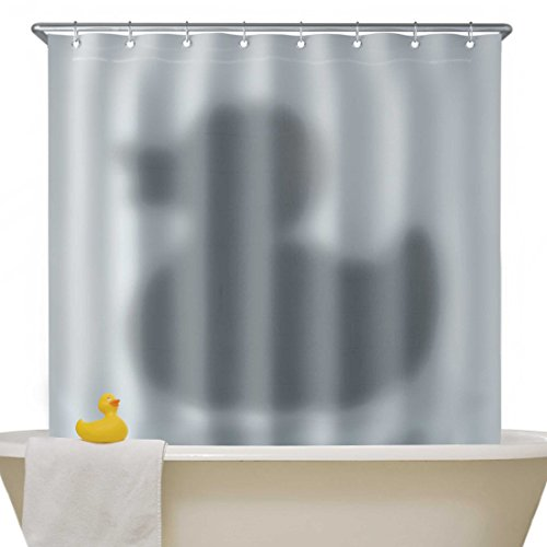 Mustard ng5309 shower curtain shadow of the duck for Psycho shower curtain and bath mat