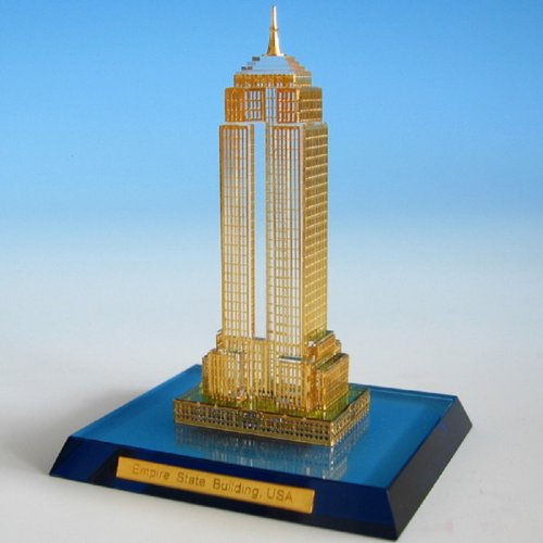 High Quality Optically Clear , Full Leaded Crystal, 24k Gold Plated Miniature Empire State Building, Scaled Replica (Empire State Building Replica compare prices)