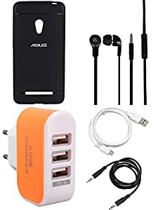 NIROSHA Cover Case Headphone USB Cable Charger for ASUS Zenfone 5 - Combo
