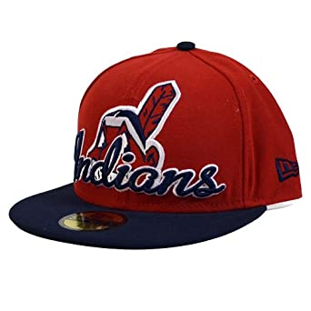 Cleveland Indians New Era 59Fifty Script Down Fitted Hat by New Era