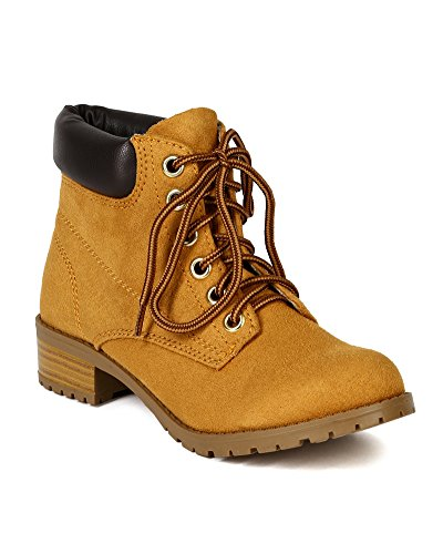 Soda BD12 Women Imitation Kid Suede Padded Collar Ankle Work Boot - Blond (Size: 8.0) (Soda Equity Boots compare prices)