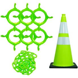 Mr. Chain 93277-6 Traffic Cone & Chain Kit With Reflective Collars, Safety Green (Traffic Cone Flag compare prices)