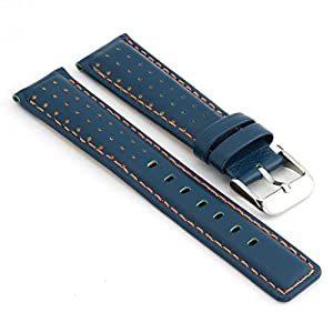 StrapsCo Perforated Blue with Orange Stitching Leather Rally Watch Band size 22mm