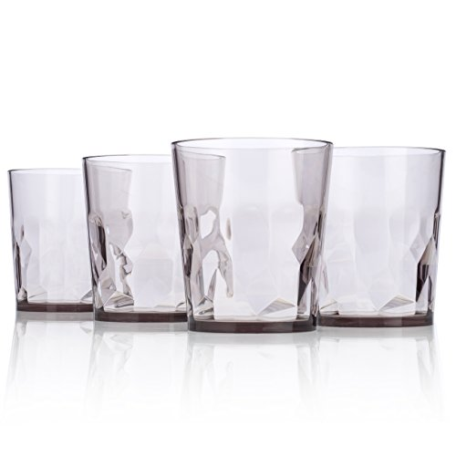 8 oz Premium Juice Glasses - Set of 4 - Unbreakable Tritan Plastic - BPA Free - 100% Made in Japan (Smoky Gray) (Juice Glasses Black compare prices)