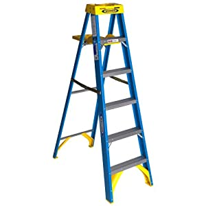 Werner 6006S 250-Pound Duty Rating Type I Fiberglass Stepladder with Pail Shelf, 6-Foot