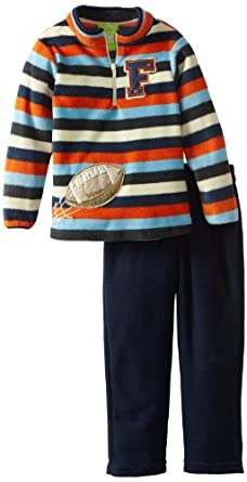 Watch Me Grow! by Sesame Street  Little Boys' 2 Piece Stripped Football Pullover and Pant, Navy, 4T