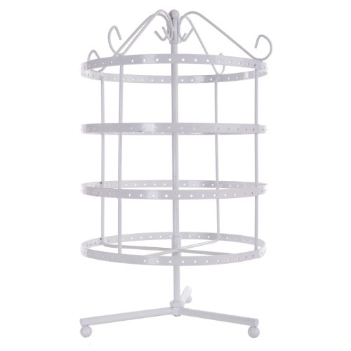 4 Tiers White Rotating Spin Table Top 92 pairs Earring Holder Organizer Stand / Jewelry Stand Display Rack Towers (White Earring Rack compare prices)