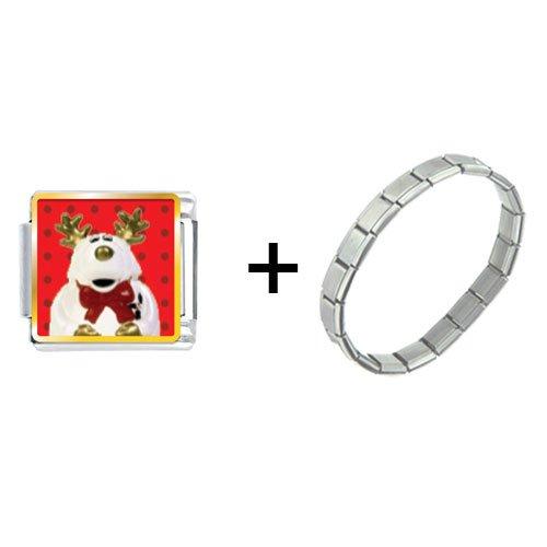 Reindeer Stuffed Animal Italian Charm Bracelet
