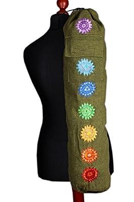 """Fair Trade Yogatasche """"Chakra"""" - Yogamatten Tasche mit Stickereien - Baumwolle - fairtrade (Grün)"""