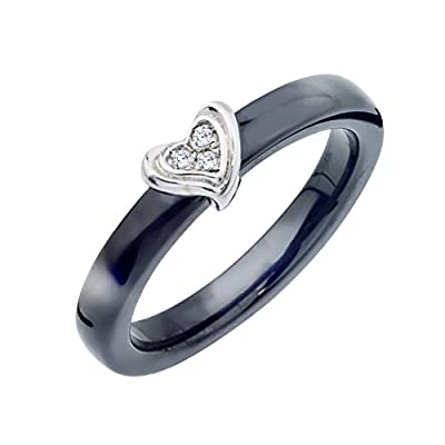Diamond Accent Heart Promise Ring in Black Ceramic and Sterling Silver (0.02 carats)