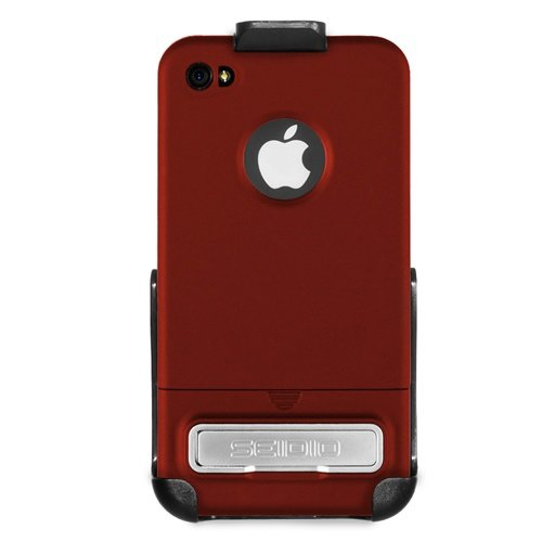 Seidio BD2-HRSIPH4K-GR SURFACE Reveal Case and Holster Combo with Metal Kickstand for Apple iPhone 4/4S - Combo Pack - Retail Packaging - Garnet Red (Iphone 4 Case Combo Pack compare prices)
