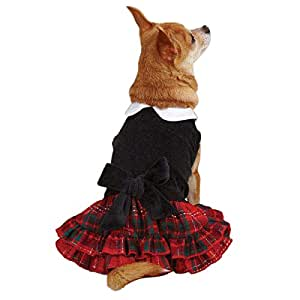 East Side Collection ZM2110 08 17 Yuletide Tartan Velvet Dress for Dogs, XX-Small, Black