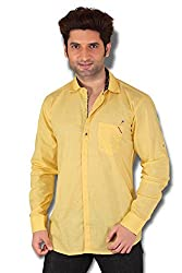 KIvon Men's Yellow Plain Slim Fit Casual Shirt