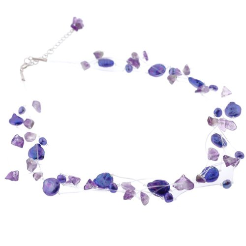 Freshwater Pearl Necklace with Chipped Gemstones - Purple - 18'' Length