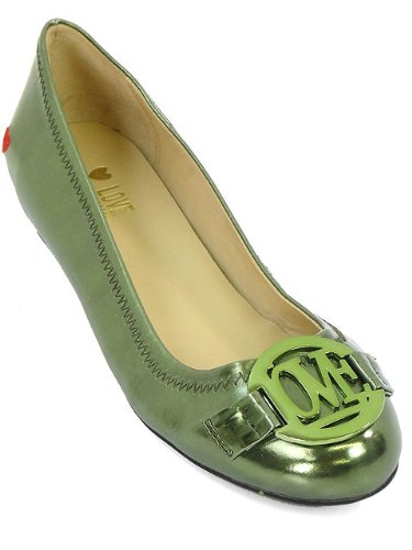 Love Moschino Shoes - Metallic Green Patent Leather Ballet Flats