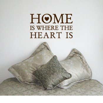 HOME+IS+WHERE+THE+HEART+IS+-+House+Love+Family+Design+-+Vinyl+Wall+Room+Decal+Sticker+%23W004+%7C+Color%3A+Coffee+Brown