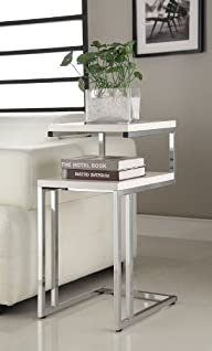 White Finish Chrome Chair Side End Sn…
