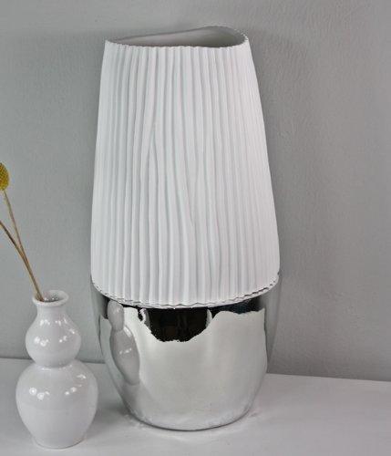 Vase Dekovase weiß silber 40 - 72cm versch. Größen hochglanz NEU Standvase Deko (klein)