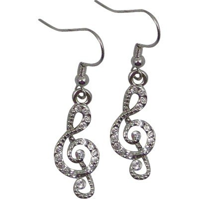 EARRINGS RHINESTONE G-CLEF CLEAR