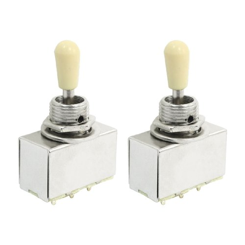 2 Pcs Plastic Knobs 3 Way Closed Toggle Switch For Electric Guitar