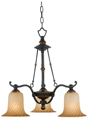 B000RO2P1G Quoizel GE5103SE Geneva 3-Light Chandelier with Twisted Amber Scavo Glass, Stonehedge