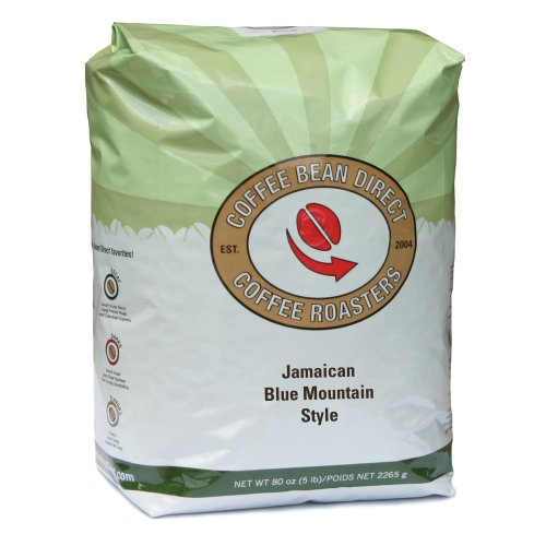 Coffee Bean Direct Jamaican Blue Mountain Style, Whole Bean Coffee, 5-Pound Bag
