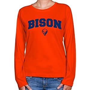 NCAA Bucknell Bison Ladies Orange Logo Arch Long Sleeve Classic Fit T-shirt (Large)