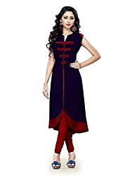 Kenil Fabrics Women's Cotton Kurti (Ken-Navy_Navy blue_Free Size)