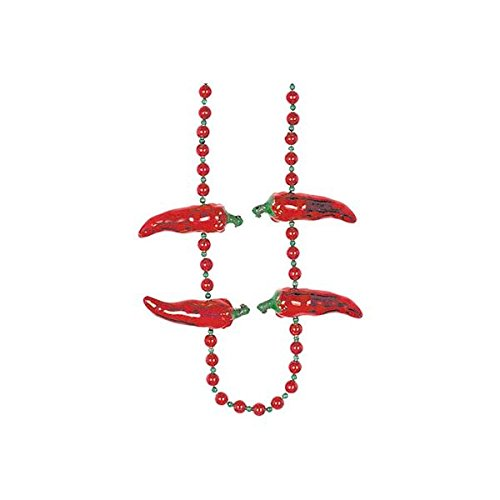 Amscan Cinco De Mayo Fiesta Party Chili Pepper Beaded Necklace, Red, 23 x 3