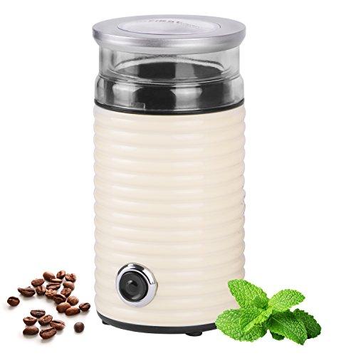 65g Retro-Kaffeemühle | 160 Watt | fein bis grob | Espresso geeignet | Elektrische Kaffeemühle für Kaffeebohnen | Zerkleinerer für Walnüsse oder getrocknete Kräuter