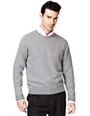 2in Longer Collezione Cotton Rich Crew Neck Jumper with Cashmere