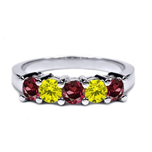0.96 Ct Red Rhodolite Garnet Canary Diamond 18K White Gold Wedding Band Ring