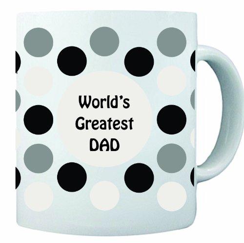 Black Polka Dot Design World'S Greatest Dad 11 Oz Ceramic Coffee Mug Cup - 2011 Design - Affordable Gift For Your Loved One! Item