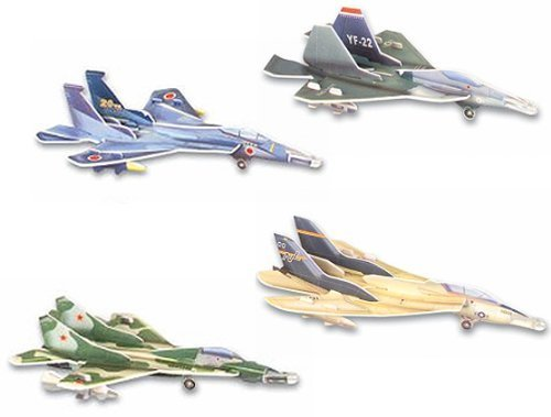 Set of 4 Twin Tail Fighter Gliders - Assorted designs - 1