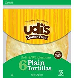 Udi\'s Gluten Free Large Tortillas (Case of 10)