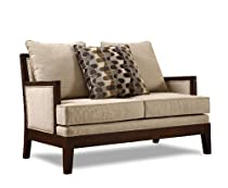 Hot Sale Homelegance 9918FA-1 Dalton Collection Love Seat, Beige Chenille-like Corded Microfiber with Show-wood Frame