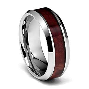 8mm Genuine Mahogany Wood Inlay Men 39 S Tungsten Wedding Band