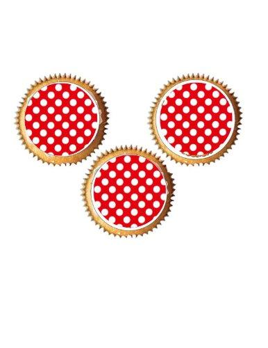 24 vorgeschnitten Runde Cath Kidston Rote Punkte essbare Tasse Kuchendeckel Dekorationen