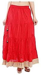 Magnus Women's Long Skirt (SKT462, Red, M)