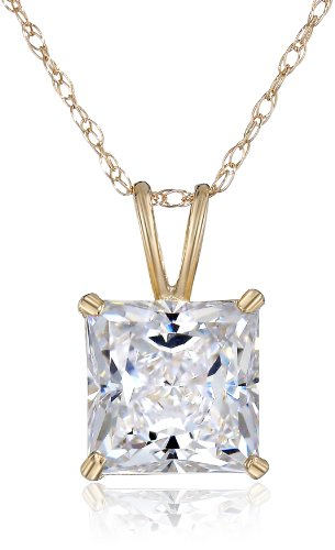 "10K Yellow Gold Princess-Cut Swarovski Zirconia Pendant Necklace(2 Cttw), 18"""