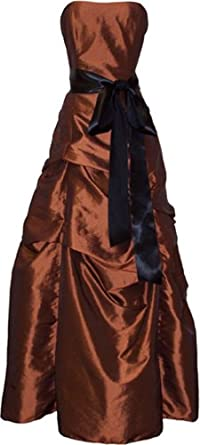 Bridesmaid Prom Holiday Formal Long Dress Junior Plus Size, XS, Copper